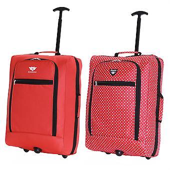 Slimbridge Montecorto Set van 2 cabine Bagage tassen, (Set van rode en rode puntjes)