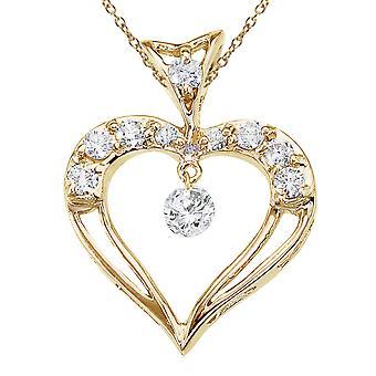 Pendente per cuore di diamante focoso in oro giallo LXR 14K