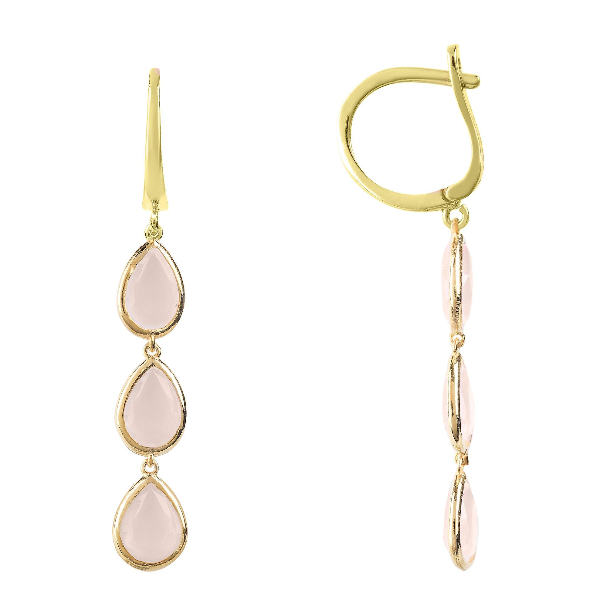 Latelita Earrings Gold Dangle Drop Multi Gemstone Pink Rose Quartz Jewellery