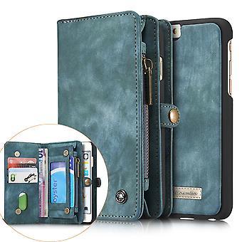 CASEME iPhone 6s 6 Plus Retro Split läder plånboksfodral Blå
