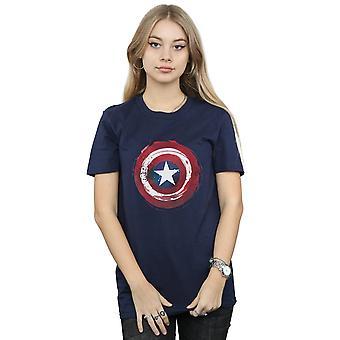 Marvel Women's Captain America Splatter Shield Boyfriend Fit T-Shirt