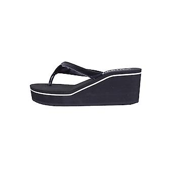 Lovemystyle Black Wedge Flip Flops With White Accent