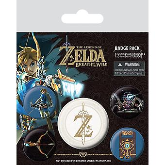 Legenda lui Zelda Button set respirația Wild (logo) colorate, imprimate, realizate din tabla, 1X x 3,8 cm, 4x x 2,5 cm.