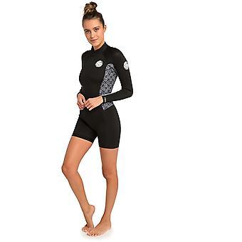 Rip Curl Dawn Patrol 22 Short Sleeve Neoprene Swimsuit in Black/White