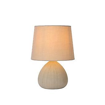 Lucide Ramzi Cottage Round Ceramics Cream Table Lamp