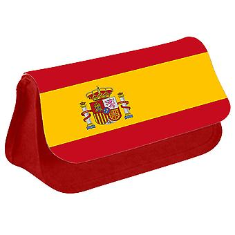 Spain Flag Printed Design Pencil Case for Stationary/Cosmetic - 0165 (Red) by i-Tronixs