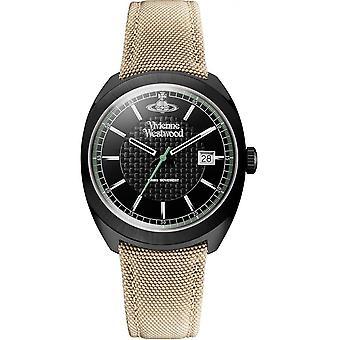 Vivienne Westwood Vv136bkbg Belsize Black & Beige Canvas Leather Men's Watch