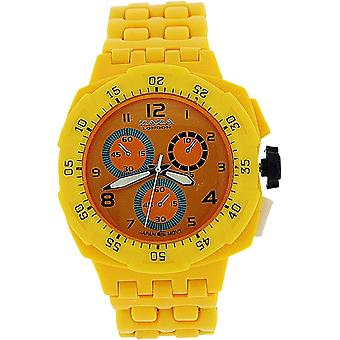 Zaza London Yellow Chrono Effect Ladies Gents Plastic  Bracelet Strap WatchPL342