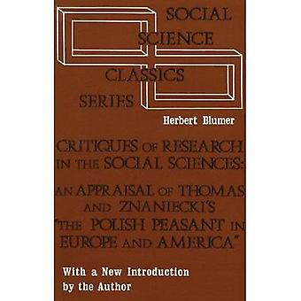 Critiques of Research in the Social Sciences by Herbert Blumer - 9780
