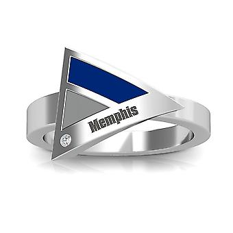 University Of Memphis Engraved Sterling Silver Diamond Geometric Ring In Blue and Grey