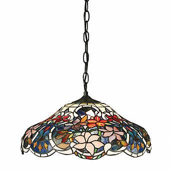 1 licht medium plafond hanger donkerbrons, Tiffany glas