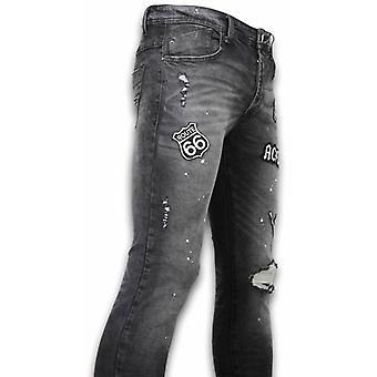 Jeans - Mended Slim Fit Jeans Damaged - Grijs