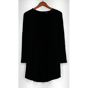 H by Halston Top Essentials Knit Long Sleeve Swing Black A294342