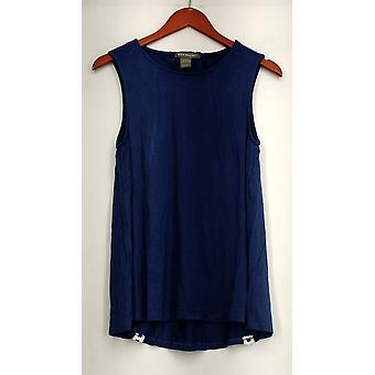 Kate & Mallory Top Sleeveless Tank Top Lace Up Back w/ Detail Blue A432215