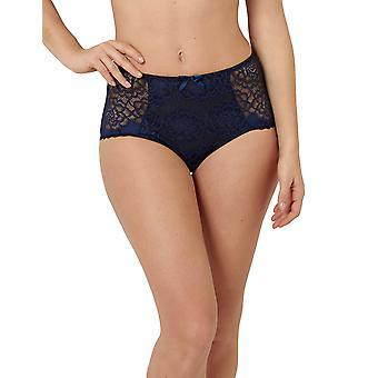 Sans Complexe 613904-GAH Women's Byzance Marine Blue Floral Lace Full Panty Highwaist Brief