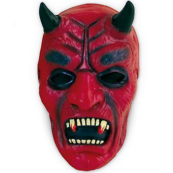 Djævelen maske rød & sort LaTeX halvmaske horror Halloween