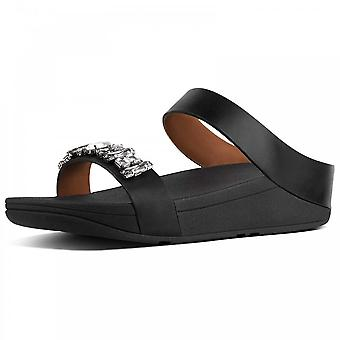 Fitflop™ Fino™ Bejewelled Leather Slide Black