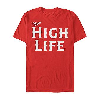 Miller High Life bier tekst logo mannen ' s rood T-shirt