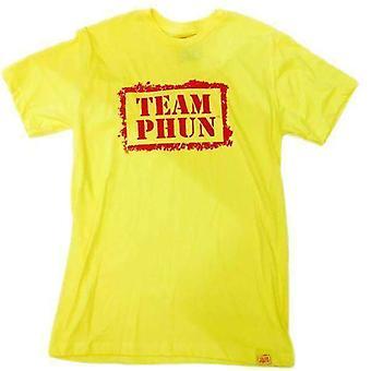 Team phun stencil logo tee shirt yellow