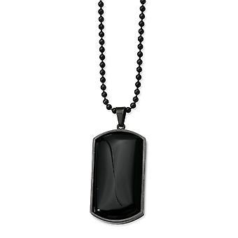 Inoxidable acero cepillado lujo los encierro de langosta Ip negro plateado y negro ágata perro etiqueta colgante 30 pulgadas collar - 30 pulgadas