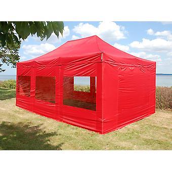Faltzelt FleXtents PRO 4x6m Rot, mit 8 Seitenwänden