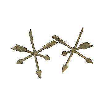 Vintage goud gietijzer Gekruiste pijlen tabel sculpturen of boekensteunen set van 2