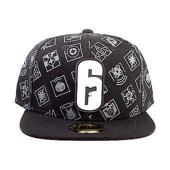 Rainbow 6 Baseball Cap 6-Siege Classic Logo new Official Gamer Black Snapback