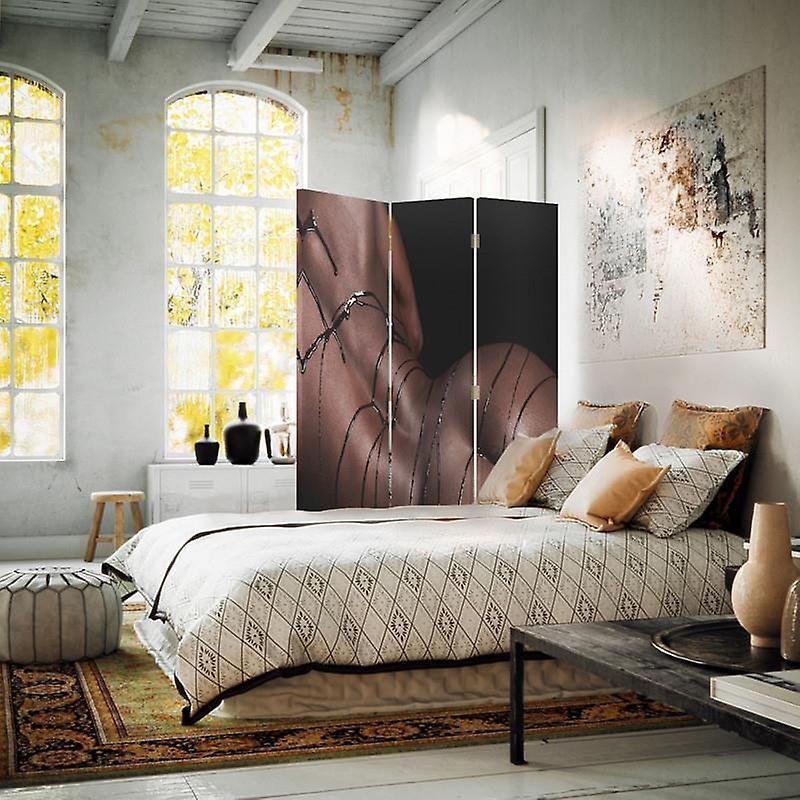 Diviseur de chambre, 3 panneaux, unilatéral, toile, femme avec le chocolat