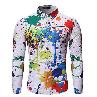 Allthemen Men's Lapel Graffiti Colorful Four Seasons Long Sleeve Shirt