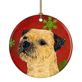 Border Terrier copo de nieve rojo vacaciones Navidad adorno cerámica LH9323