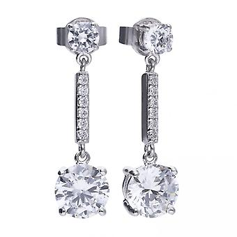 Diamonfire Silver White Zirconia Pendulum Earrings E5578