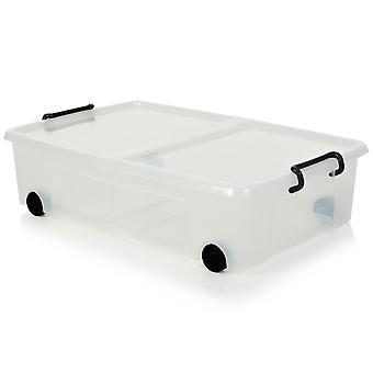 Strata Pack van 4-35 liter Smart Storemaster onder bed opbergdoos met deksel en wielen