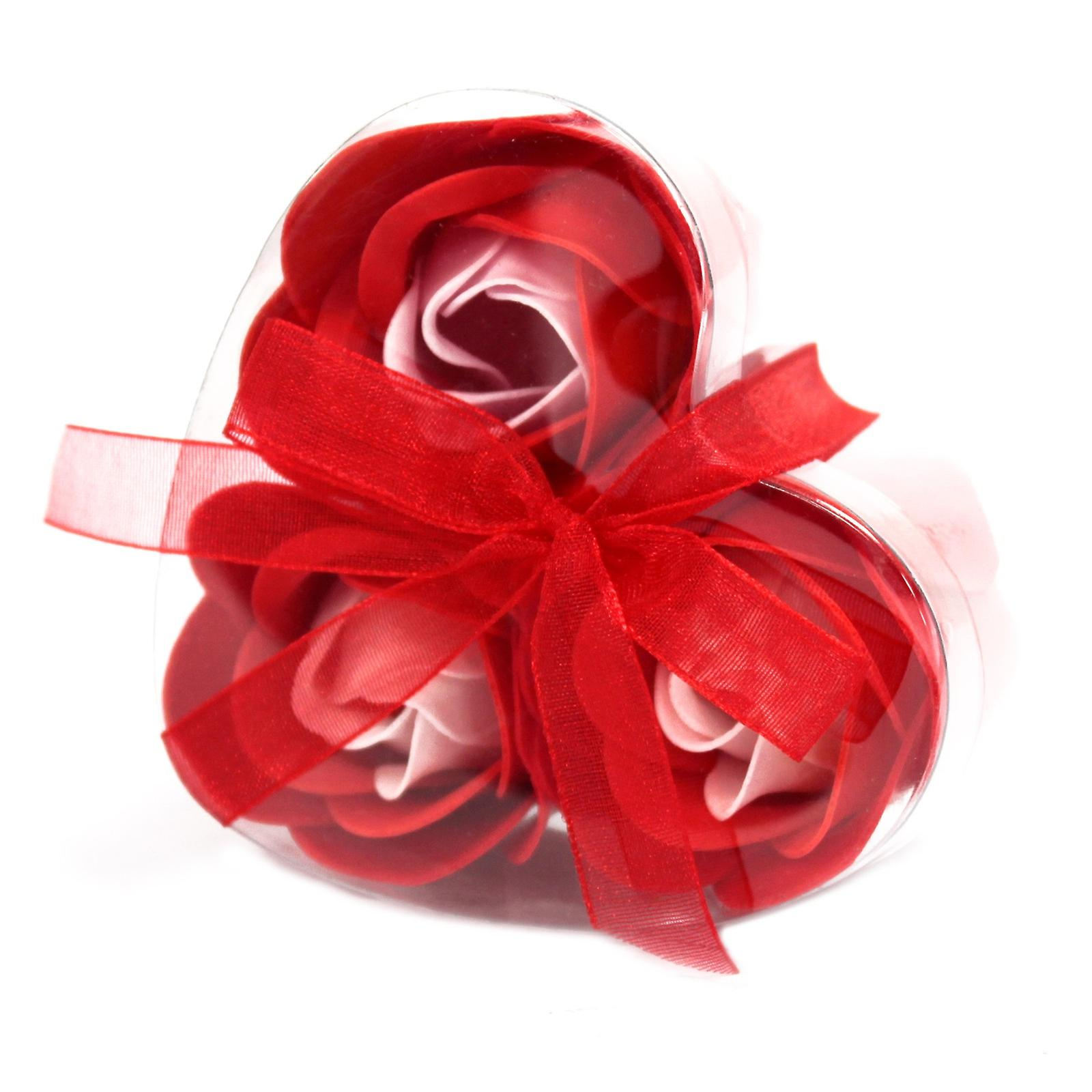 Set of 3 Soap Flowers in Heart Box - Red Roses