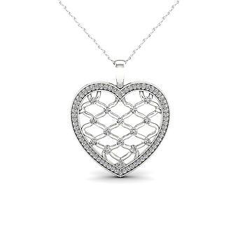 Igi المعتمدة 10k الذهب الأبيض 0.25ct tdw الماس قلادة أزياء filigree القلب