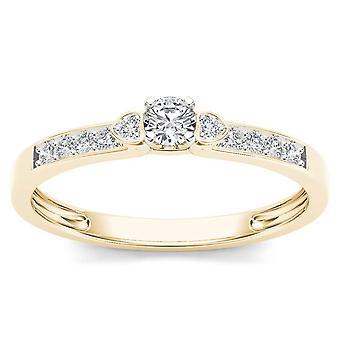 Igi certifierad äkta 10k gult guld 0,19 ct diamant klassisk förlovningsring