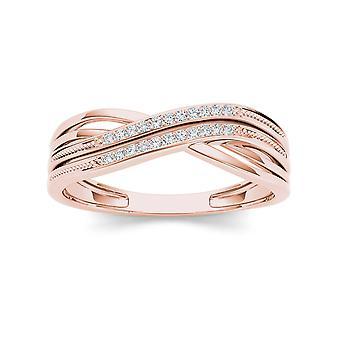 Igi certified 10k rose gold 0.05 ct natural diamond fashion anniversary ring