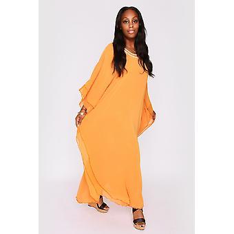 Kaftan helene high neck batwing long sleeve full-length maxi dress in mustard