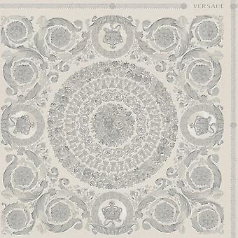 Versace Heritage Tile Panel Wallpaper - Grey and Silver - 37055-5 - 10m x 70cm