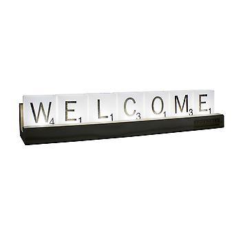 Scrabble lettera lampada bianca/marrone, stampata, in legno/plastica al 100%, in confezione regalo.