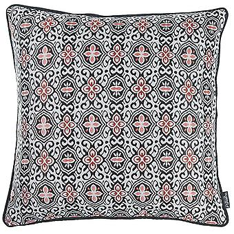 Black White Red Jacquard Medallion Decorative Throw Pillow Cover