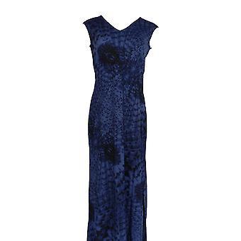 G.I.L.I. got it love it Dress V Neck Printed Knit Maxi Blue A264107