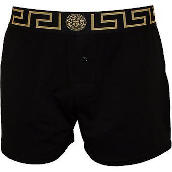 Versace Iconic Button-Front Boxer Short, Black/gold