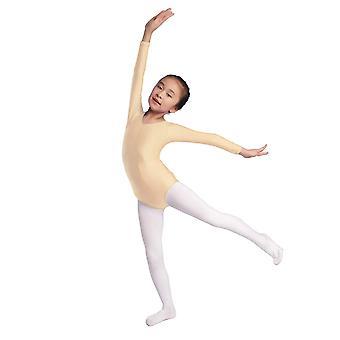 Aoylisey Girls' Team Basic Long Sleeve Leotard (Nude, L), Nude, Size Large