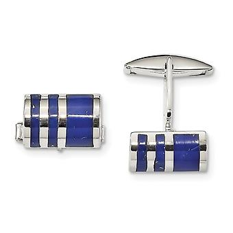 16.4mm 925 Sterling Silver Lapis Cuff Links Jewelry Gifts for Men - 14.1 Grams