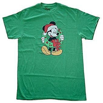 ディズニーメン&アポス;sミッキーマウスクリスマスリースTシャツ、グリーン、M