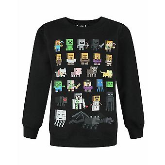 Minecraft Boys Jumper | Kids Sprites Creeper Pig Characters Black Sweatshirt Sweater | Game Merchandise Clothing