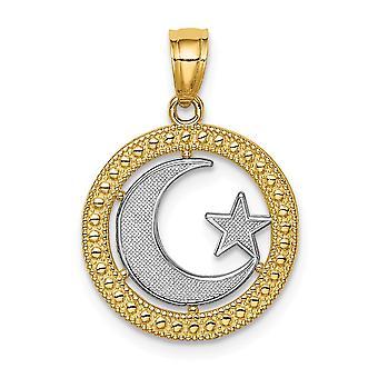 14k rhodium Star ja Celestial Moon riipus kaulakoru korut lahjat naisille - 1,0 grammaa