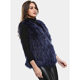ANNA&CHRIS Womens Soft Sleeveless Faux Fur Vest Gradient, Blue, Size Large