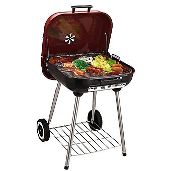 Outsunny Charcoal Trolley BBQ Garden Outdoor Barbecue Cooking Grill Powder Wheel New Red
