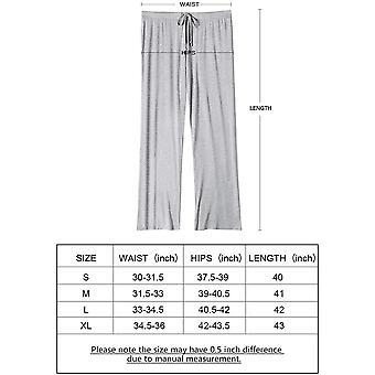 Luft kurvenlische Damen Pyjama Hose breite Bein Lounge Hose grau L, B grau, Größe groß